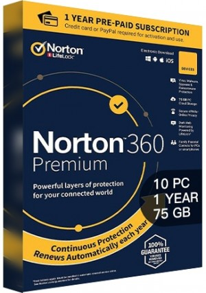 Norton 360 Premium - 10 PCs/1 Year/75GB Cloud Storage