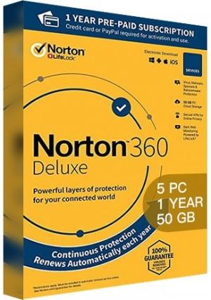 Norton 360 Deluxe - 5 PCs/1 Year/50GB Cloud Storage